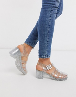 London Rebel heeled jelly shoes