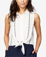 Rachel Roy Cotton Striped Tie-Front Shirt, Created for Macy's