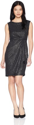 Tiana B T I A N A B. Women's Petite Glitter Side Drape Dress with Broach