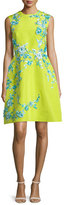 Monique Lhuillier Sleeveless Embellished Faille Cocktail Dress, Chartreuse