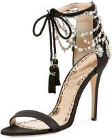 Marchesa Marissa Satin Tassel-Tie Jeweled Sandal, Black