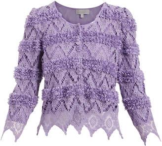 Pretty Angel Women's Cardigans PURPLE/PURPLE(PU/PU) - Purple Rosette Crochet Linen-Blend Crop Cardigan - Women