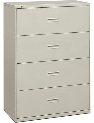 400 Series 4-Drawer Vertical Filing Cabinet Basyx by HON Finish: Light Gray