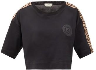 Fendi Logo-jacquard Stripe Cotton Cropped T-shirt - Black