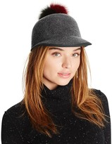 Helene Berman Cap with Two-Tone Fox Fur Pom-Pom