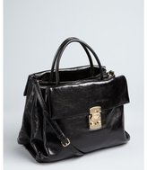 Miu Miu Black Grained Leather Expanding Convertible Satchel