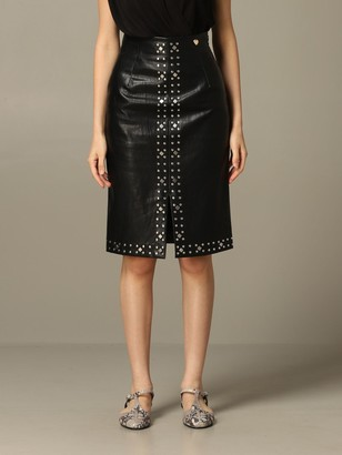 Twin-Set Pencil Skirt In Leather With Studs