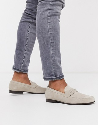 H By Hudson hecker loafers in grey suede