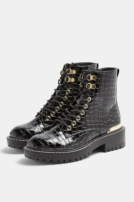 Topshop Womens King Black Patent Croc Lace Up Boots - Black