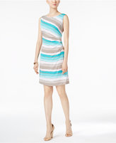 Connected Petite Pleated Striped Sheath Dress