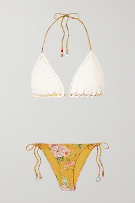 Zimmermann Zinnia Crochet And Floral-print Triangle Bikini - White