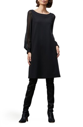 Lafayette 148 New York Linden Sheer Long Sleeve Punto Milano Shift Dress