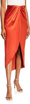 Brandon Maxwell Silk Wrap-Front Slit Skirt