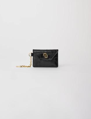 Maje Croc-effect embossed leather card holder