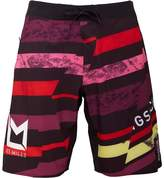 Reebok Mens Les Mills Speedwick Printed Board Shorts Rio Red