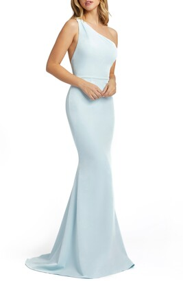 Mac Duggal Ieena for One-Shoulder Jersey Mermaid Gown