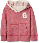Logo marl zip hoodie