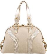Saint Laurent Leather-Trimmed Satchel Bag