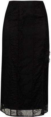 Xu Zhi Lace-Overlay Midi Skirt