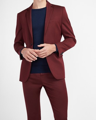 Express Extra Slim Textured Burgundy Suit Jacket