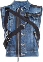 DSQUARED2 zipper strap denim gilet - women - Cotton/Polyamide/Spandex/Elastane - 46