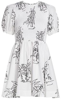 S/W/F Puff-Sleeve Smocked Mini Dress