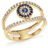 Bloomingdale's Diamond and Sapphire Evil Eye Ring in 14K Yellow Gold