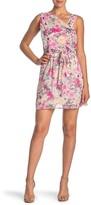 Love Squared Floral Draped Sleeveless Tie Waist Dress
