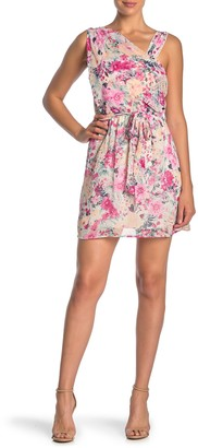 Love Squared Floral Draped Sleeveless Tie Waist Dress