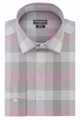 Van Heusen Van Huesen Men's Dress Shirts Flex Collar Slim Fit Stretch Check