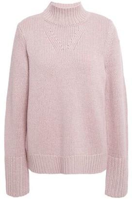 Elie Tahari Pointelle-trimmed Metallic Knitted Sweater