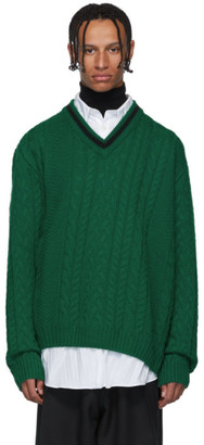 Lanvin Green Wool and Baby Alpaca V-Neck Sweater