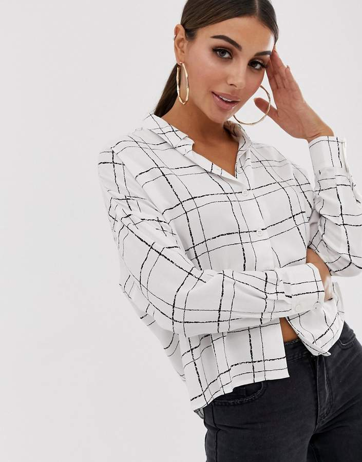 Asos Design DESIGN long sleeve cropped shirt in sketchy check print