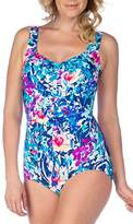 Maxine Of Hollywood Women's French Bouquet Print Girl Leg One Piece Swimsuit