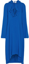 Balenciaga Ruffle-trimmed Georgette Dress - Bright blue
