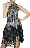 URqueen Women Sequin Embellished Fringe Dance Mini Dress