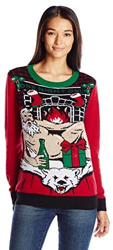 Ugly Christmas Sweater Company Women S Light Up Santa On Polar Bear Rug Xxl