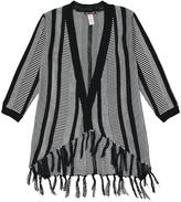 KensieGirl Black & White Stripe Hi-Low Open Cardigan - Girls