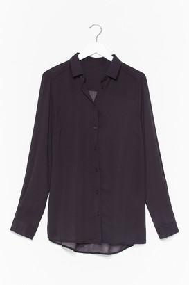 Nasty Gal Womens Going Back to Basics Plus Chiffon Shirt - Black - L