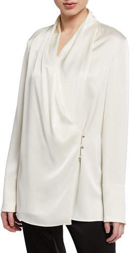 936bdb7eb16 Liquid Satin Cowl-Neck Long-Sleeve Wrap Blouse w/ Side Buttons