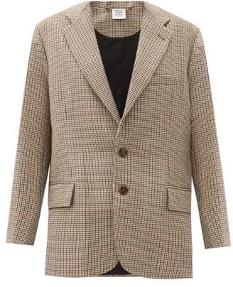 Vetements Cutaway-hem Checked Wool Blazer - Brown