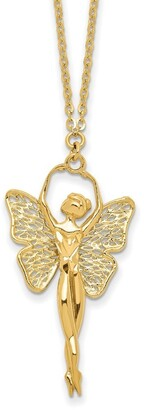 14K Yellow Gold Polished and Filigree Fairy Necklace by Versil