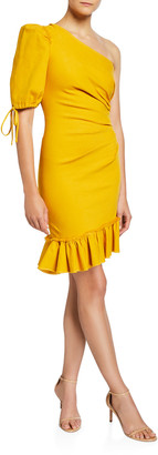 Jonathan Simkhai One-Shoulder Asymmetric Denim Dress