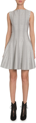 Alaia Dot-Print Boat-Neck Sleeveless Fit-&-Flare Dress