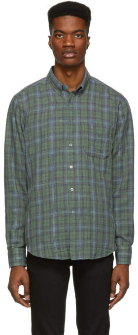 Naked & Famous Denim Denim Green and Blue Plaid Double Cloth Easy Shirt