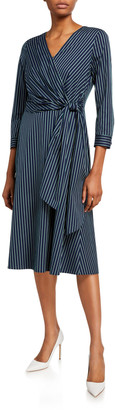 Lafayette 148 New York Penelope Series Stripe 3/4-Sleeve Wrap Dress