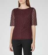 Reiss Dee Short-Sleeve Lace Top