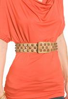Tan Pyramid Stud Waist Belt
