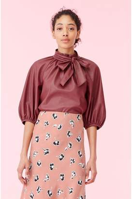 Rebecca Taylor Vegan Leather Tie Neck Top