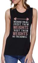 365 Printing All About Them Weights Work Out Muscle Tee Gym Sleeveless Tank Top
